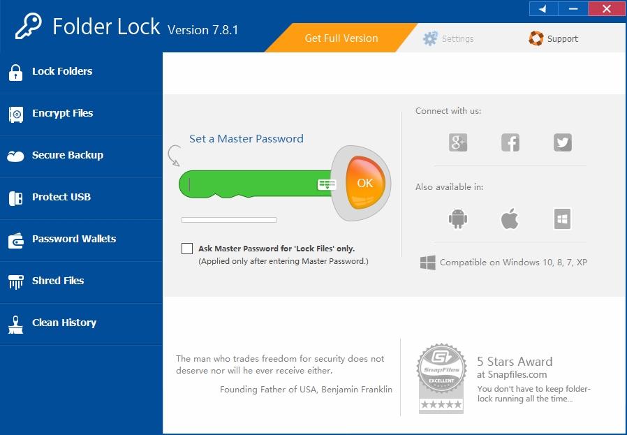 文件加密保护工具Folder Lock